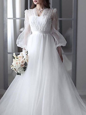 cheap Wedding Dresses-A-Line Wedding Dresses V Neck Sweep / Brush Train Lace Tulle 3/4 Length Sleeve Sexy See-Through Backless with Sashes / Ribbons Beading 2020