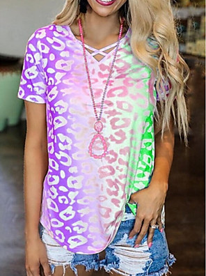 cheap Women's T-shirts-Women's T-shirt Color Block Tie Dye Short Sleeve Tops V Neck Blue Purple Red