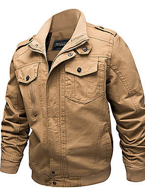 cheap Men's Jackets & Coats-Men's Daily Fall & Winter EU / US Size Regular Jacket, Solid Colored Stand Long Sleeve Polyester Army Green / Khaki / Black