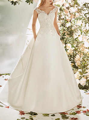 cheap Evening Dresses-A-Line Wedding Dresses V Neck Sweep / Brush Train Lace Tulle Cap Sleeve Vintage Sexy Wedding Dress in Color Backless with Pleats Embroidery Appliques 2020