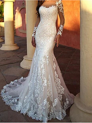 cheap Wedding Dresses-Mermaid / Trumpet Wedding Dresses Jewel Neck Sweep / Brush Train Lace Tulle Long Sleeve Sexy with Embroidery 2020