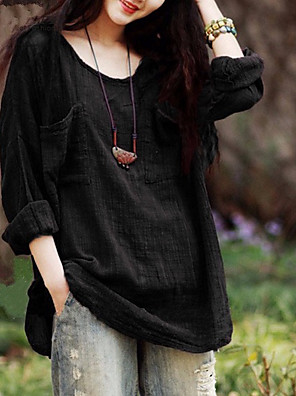 cheap Women's Blouses & Shirts-Women's Blouse Striped Solid Colored Loose Tops Cotton Wine Black Purple / Long Sleeve