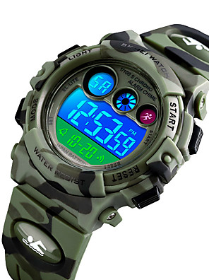 cheap Digital Watches-SKMEI Boys' Digital Watch Digital New Arrival Water Resistant / Waterproof Silicone Blue / Green / Navy Digital - Blue Green Dark Blue / Stopwatch / Noctilucent