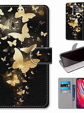 povoljno Maske/futrole za Xiaomi-futrola za xiaomi redmi note 8 pro / redmi note 8 / redmi note 8t novčanik / držač za karticu / s postoljem zlatni leptir pu skin / tpu za redmi note 7 / mi cc9 pro / redmi 8 / redmi k30 / redmi 8a