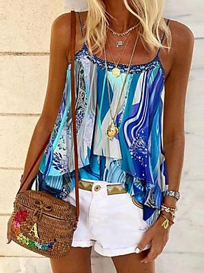 cheap Summer Dresses-Women's Color Block Tank Top Daily Strap Blue / Purple / Green