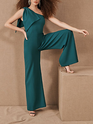 cheap Prom Dresses-Jumpsuits Elegant Turquoise / Teal Party Wear Prom Dress One Shoulder Sleeveless Floor Length Spandex with Sleek 2020