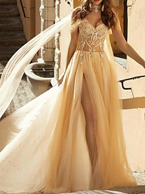 cheap Evening Dresses-A-Line Wedding Dresses Off Shoulder Chapel Train Lace Tulle Short Sleeve Sexy See-Through with Embroidery Split Front 2020