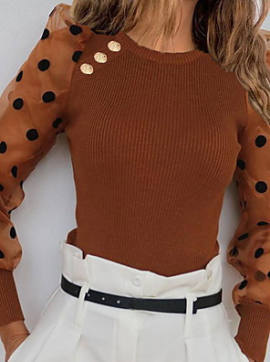 cheap Women's Blouses-Women's Polka Dot Long Sleeve Pullover Sweater Jumper, Round Neck White / Brown / Gray S / M / L