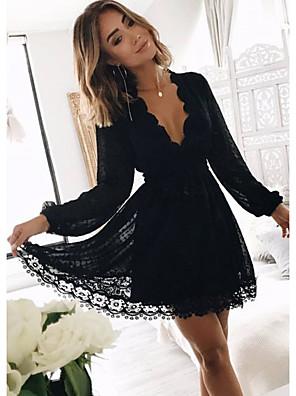 cheap Mini Dresses-Women's Sheath Dress - Long Sleeve Solid Color Summer Elegant 2020 Black S M L XL