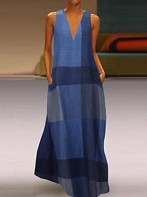 cheap Print Dresses-Women's A-Line Dress Maxi long Dress - Sleeveless Color Block Summer V Neck Elegant Maxi Dress 2020 Blue Red Yellow S M L XL