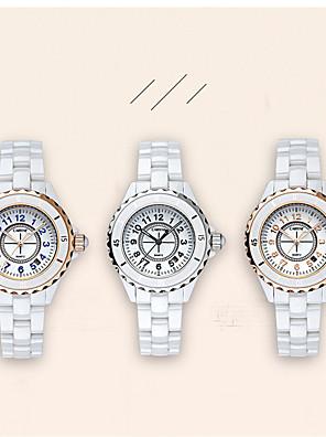cheap Quartz Watches-Women's Quartz Watches Quartz Luxury Water Resistant / Waterproof Ceramic Analog - Rose Gold White+Blue White One Year Battery Life / Japanese / Calendar / date / day / Japanese