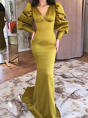 cheap Evening Dresses-Mermaid / Trumpet Elegant Vintage Engagement Formal Evening Dress V Neck Long Sleeve Sweep / Brush Train Stretch Satin with Sleek 2020