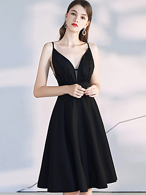 cheap Homecoming Dresses-Back To School A-Line Beautiful Back Black Homecoming Cocktail Party Dress V Neck Sleeveless Knee Length Spandex with Pleats 2020 Hoco Dress