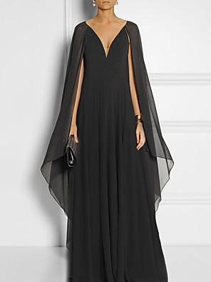 cheap Evening Dresses-Sheath / Column Elegant Minimalist Engagement Formal Evening Dress V Neck Sleeveless Court Train Chiffon with Pleats 2020