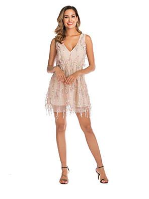 cheap Mini Dresses-Women's Lace - Sleeveless Print Tassel Fringe Summer Sexy Party Holiday 2020 Blushing Pink S M L XL XXL