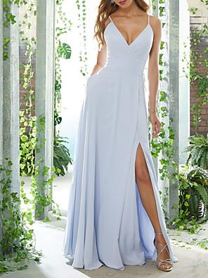 cheap Bridesmaid Dresses-A-Line V Neck Floor Length Chiffon Bridesmaid Dress with Split Front