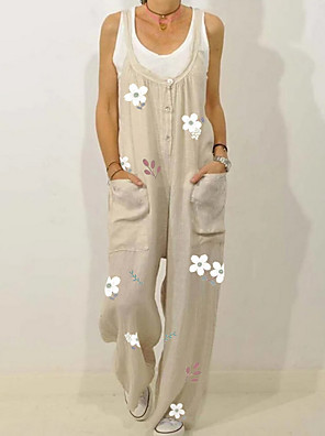 cheap Women's Skirts-Women's Beige Light Blue Jumpsuit Onesie, Geometric M L XL