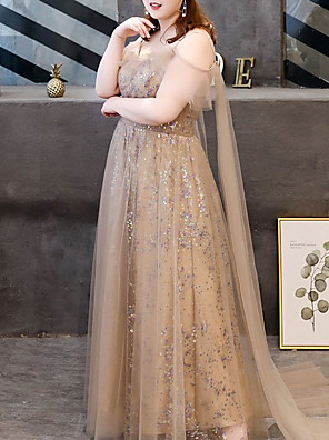 cheap Prom Dresses-A-Line Sparkle Plus Size Engagement Formal Evening Dress V Neck Short Sleeve Floor Length Tulle with Bow(s) Sequin 2020