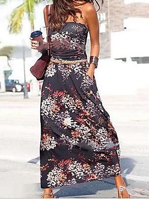 cheap Mother of the Bride Dresses-Women's A-Line Dress Maxi long Dress - Sleeveless Print Summer Casual Mumu 2020 Black Rainbow S M L XL XXL