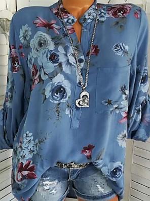 cheap Women's Blouses & Shirts-Women's Going out Shirt Floral Patchwork Print Long Sleeve Tops Basic Shirt Collar White Blue Green
