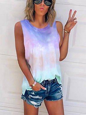 cheap Oversize Sweater-Women's Plus Size Tank Top Color Block Tie Dye Print Tops Basic Street chic Wine Blue Purple / Sleeveless / Going out