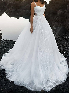 cheap Wedding Dresses-A-Line Wedding Dresses Sweetheart Neckline Spaghetti Strap Court Train Lace Tulle Sleeveless Sexy with Lace 2020