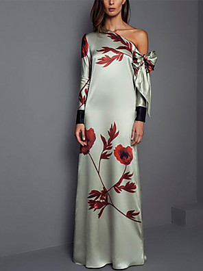 cheap Evening Dresses-Sheath / Column Elegant Wedding Guest Formal Evening Dress One Shoulder Long Sleeve Floor Length Spandex with Pattern / Print 2020