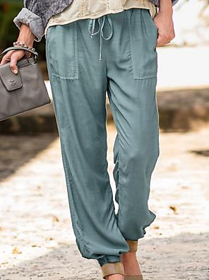 cheap Women's Pants-Women's Basic Loose Chinos Pants Solid Colored Black Blue Khaki S M L