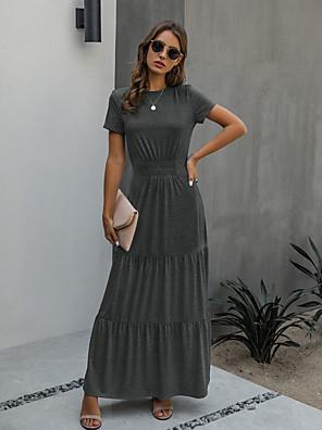 cheap Romantic Lace Dresses-Women's A Line Dress - Short Sleeves Solid Color Summer Street chic 2020 Blue Orange Dark Gray S M L XL XXL