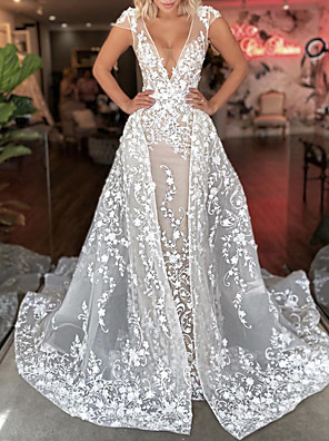 cheap Prom Dresses-A-Line Wedding Dresses Plunging Neck Sweep / Brush Train Detachable Lace Tulle Short Sleeve Sexy See-Through with Embroidery 2020