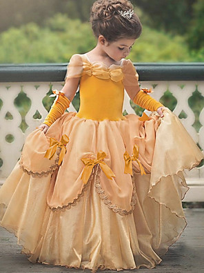 cheap Cocktail Dresses-Princess Belle Vintage Dress Gloves Party Costume Flower Girl Dress Girls' Kid's Costume Sky Blue / Yellow / Lavender Vintage Cosplay Sleeveless