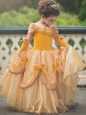 cheap Girls' Dresses-Princess Belle Vintage Dress Gloves Party Costume Flower Girl Dress Girls' Kid's Costume Sky Blue / Yellow / Lavender Vintage Cosplay Sleeveless