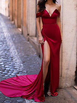 cheap Evening Dresses-Sheath / Column Sexy Red Engagement Formal Evening Dress Strapless Short Sleeve Court Train Satin with Split 2020