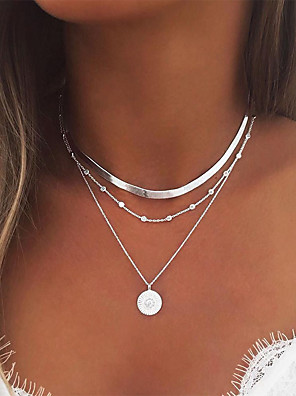 cheap Quartz Watches-Women's Necklace Layered Necklace Stacking Stackable Simple European Fashion Chrome Gold Silver 35 cm Necklace Jewelry 1pc For Party Evening Prom Street Beach