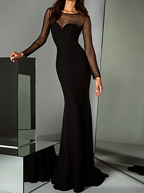 cheap Evening Dresses-Mermaid / Trumpet Elegant Black Party Wear Formal Evening Dress Illusion Neck Long Sleeve Sweep / Brush Train Tulle with Sequin 2020