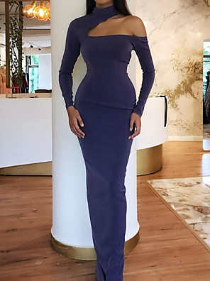 cheap Evening Dresses-Mermaid / Trumpet Elegant Purple Party Wear Formal Evening Dress One Shoulder Long Sleeve Floor Length Satin with Sleek 2020