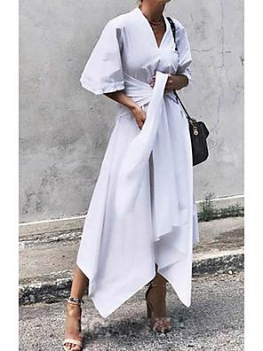 cheap Summer Dresses-Women's A Line Dress - Half Sleeve Solid Color Summer Elegant 2020 White Black S M L XL