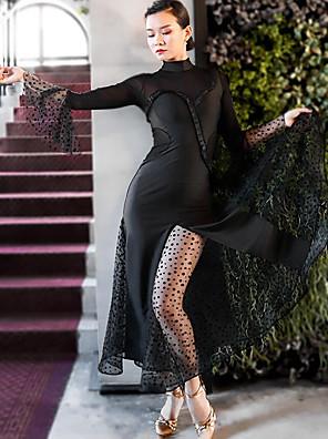 cheap Prom Dresses-Ballroom Dance Dress Sashes / Ribbons Split Joint Women's Training Performance Long Sleeve Mesh Polyster