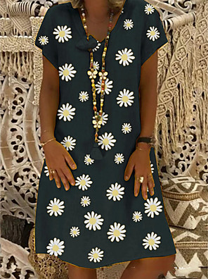 cheap Women's Blouses & Shirts-Women's Shift Dress Knee Length Dress - Short Sleeve Daisy Floral Print Summer V Neck Plus Size Casual Vacation Black Yellow Khaki Green S M L XL XXL XXXL XXXXL