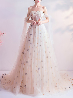 cheap Prom Dresses-A-Line Glittering White Engagement Formal Evening Dress Strapless Sleeveless Court Train Organza with Appliques 2020