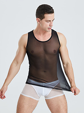 cheap Men's Exotic Underwear-Men's Asian Size Super Sexy Round Neck Undershirt Solid Colored