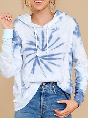 cheap Bikinis-Women's Pullover Hoodie Sweatshirt Tie Dye Basic Hoodies Sweatshirts  Light Blue
