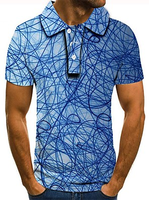 levne Dámské šaty-Pánské Polo Grafika 3D tisk Tisk Krátký rukáv Tops Světle modrá