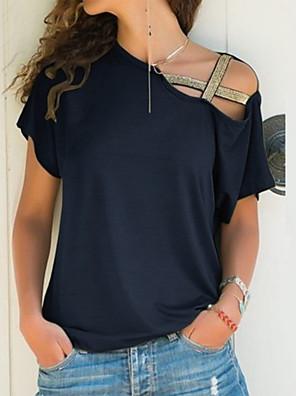 cheap Women's T-shirts-Women's Plus Size Blouse Solid Colored Tops One Shoulder Wine Black Blue