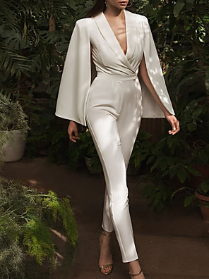 cheap Evening Dresses-Jumpsuits Wedding Dresses V Neck Floor Length Satin Long Sleeve Simple Sexy Modern with Sashes / Ribbons 2020