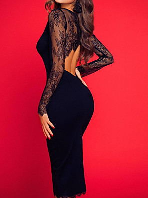 cheap Evening Dresses-Sheath / Column Floral Black Homecoming Party Wear Dress Jewel Neck Long Sleeve Knee Length Tulle with Lace Insert 2020