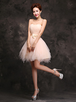 cheap Cocktail Dresses-Ball Gown Flirty Vintage Party Wear Cocktail Party Dress Sweetheart Neckline Sleeveless Short / Mini Tulle with Bow(s) 2020