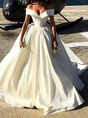 cheap Evening Dresses-A-Line Wedding Dresses Off Shoulder Court Train Satin Chiffon Over Satin Short Sleeve Sexy with Pleats Pearls 2020