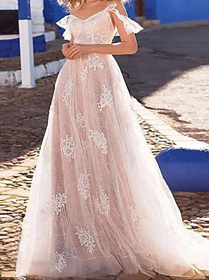 cheap Wedding Dresses-A-Line Wedding Dresses Spaghetti Strap Floor Length Lace Tulle Short Sleeve Beach Sexy See-Through with Embroidery 2020