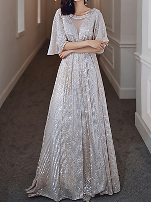 cheap Wedding Dresses-A-Line Glittering Beautiful Back Party Wear Prom Dress Jewel Neck Half Sleeve Floor Length Spandex with Sequin 2020